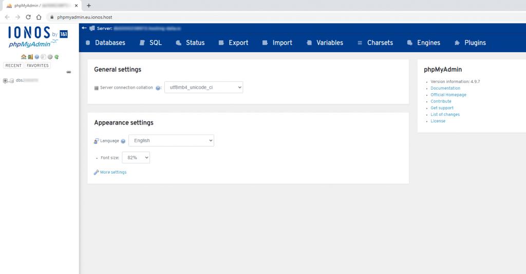 access wordpress database