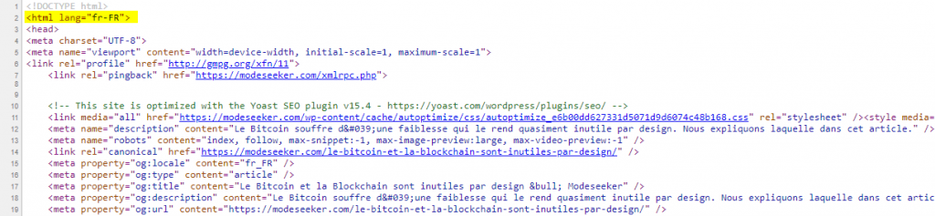 Source code of article in French